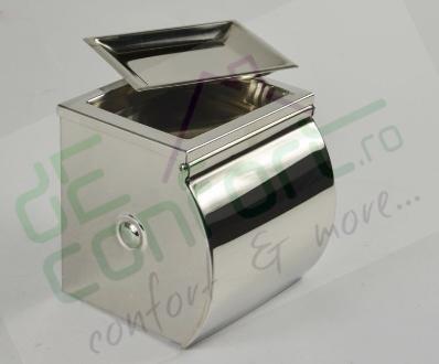 Dispenser inox hartie cu scrumiera rola mica