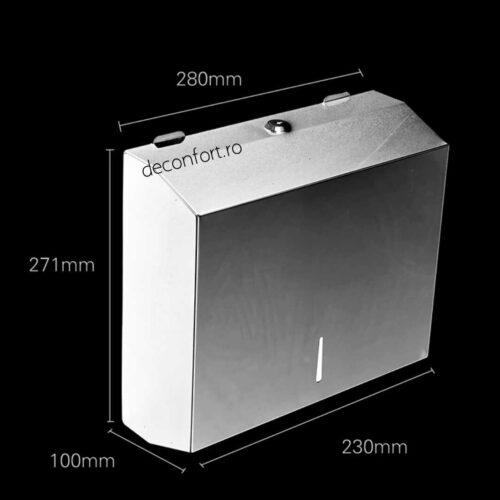Dispenser prosoape hartie inox alb 300buc metalic