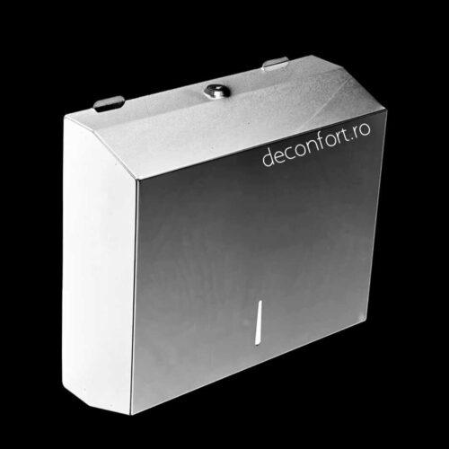 Dispenser prosoape hartie 300buc culoare alba metalic antivandalism Milano