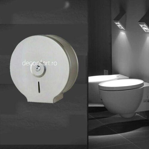 Dispenser rola hartie igienica satinat, metalic montare toaleta antivandalism Milano