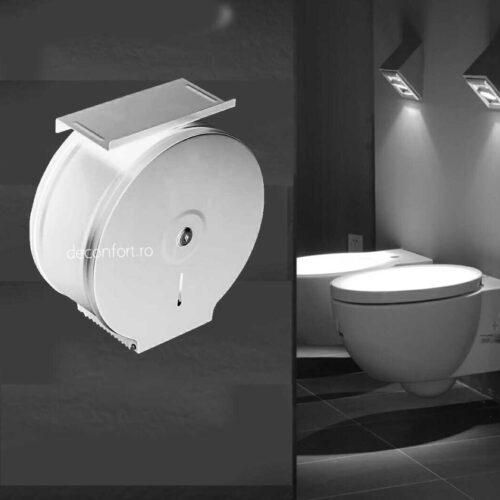 Dispenser rola hartie jumbo alb metalic antivandalism cu suport hartie Milano