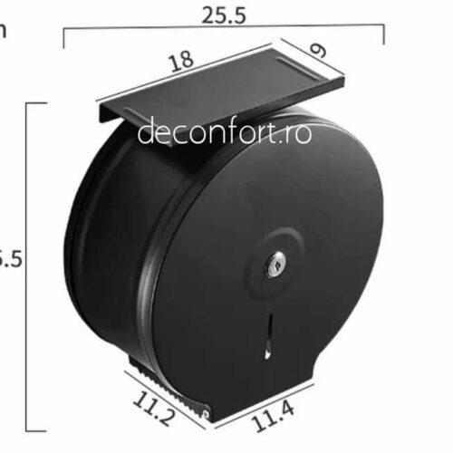 Dispenser rola hartie jumbo negru metalic antivandalism cu suport hartie Milano
