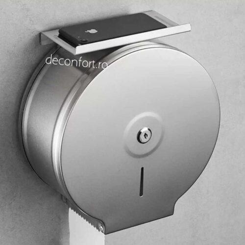 Dispenser rola hartie jumbo satinat metalic antivandalism cu suport hartie Milano