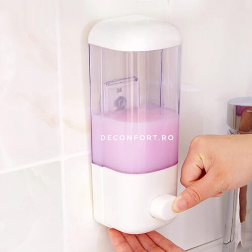 Dispenser sapun baie 500ml culoare alb rezistent pereti transparenti