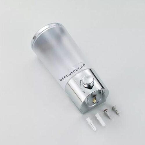 Dispenser sapun lichid 350ml cilindric pereti transparenti din plastic ABS