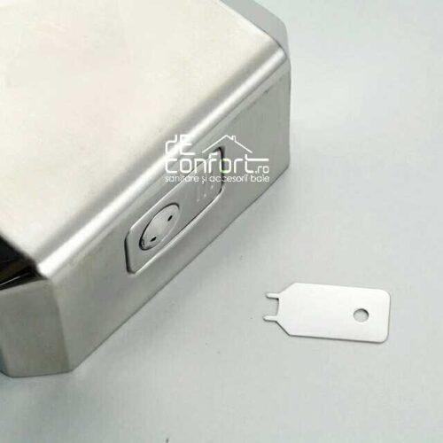 Dispenser sapun lichid 500ml inox mat antivandalism inchidere cheie satinat metalic