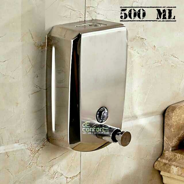 Dispenser sapun lichid 500ml inox mat antivandalism inchidere cheie satinat metalic