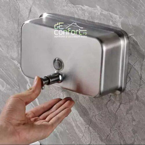 Dispenser sapun lichid crom periat 1200ml inox mat orizontal