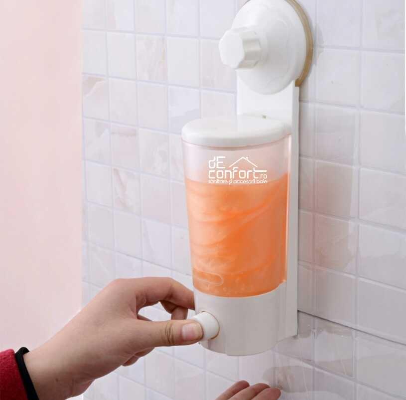 Dispenser sapun lichid SPIN prindere ventuza fara dibluri 350ml
