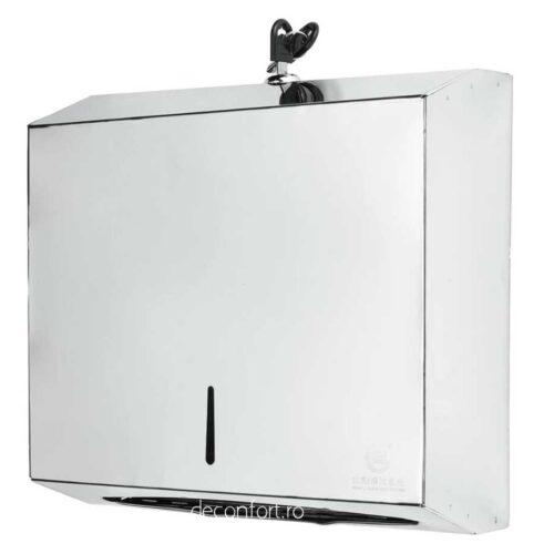 Dispenser satinat prosoape hartie capacitate 300buc metalic
