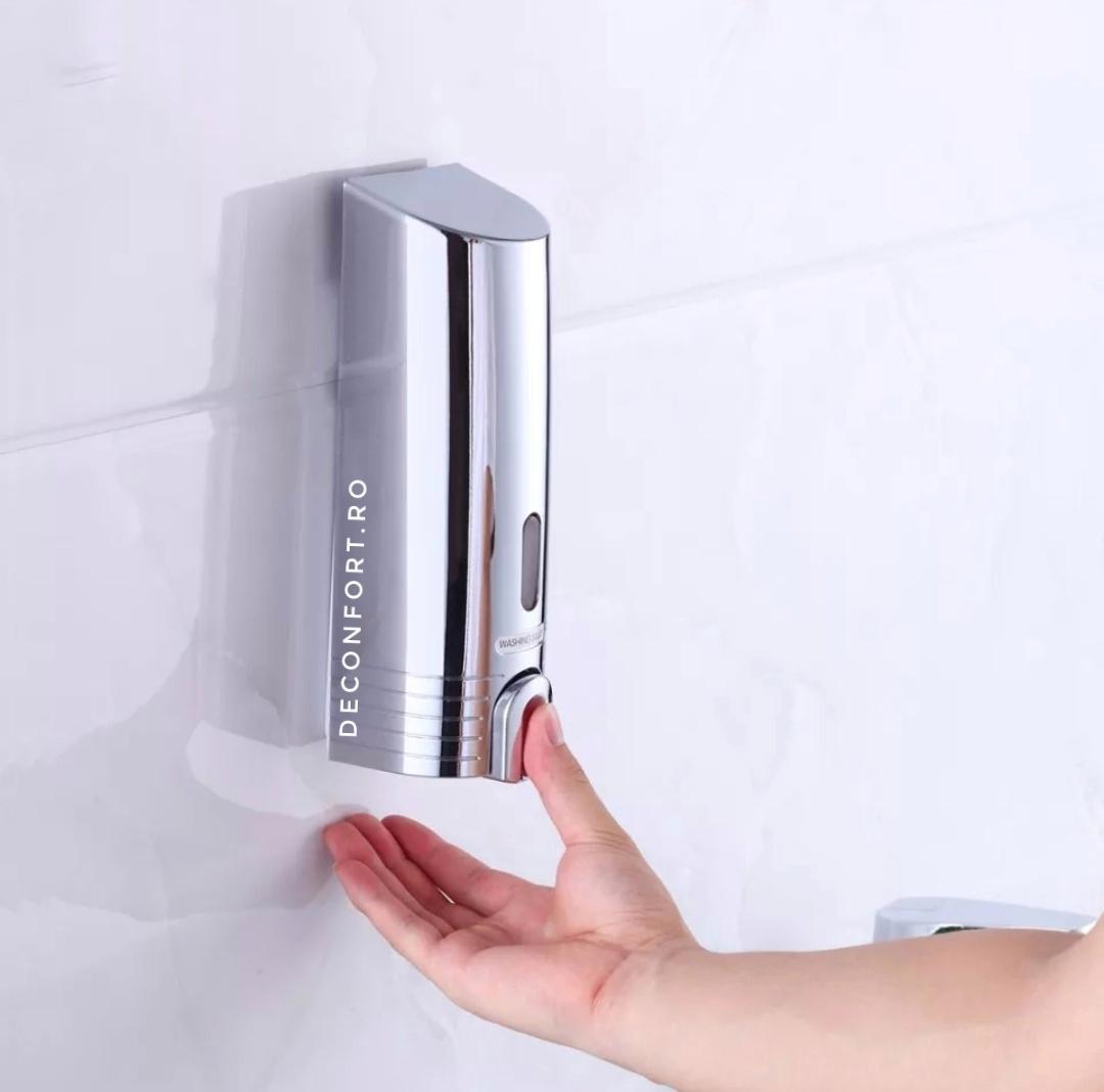 Dozator lichid 380ml plastic cromat rezistent prindere perete