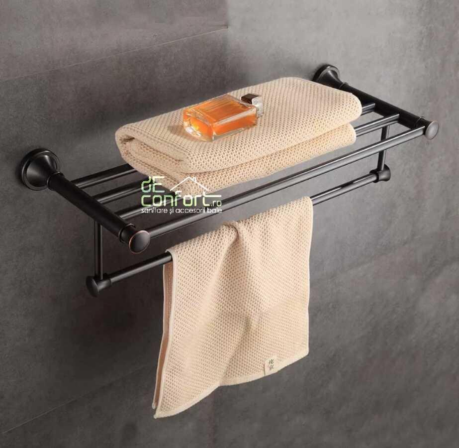 Cuier baie rabatabil aluminiu antichizat culoare neagra cu suport de prosop culisant