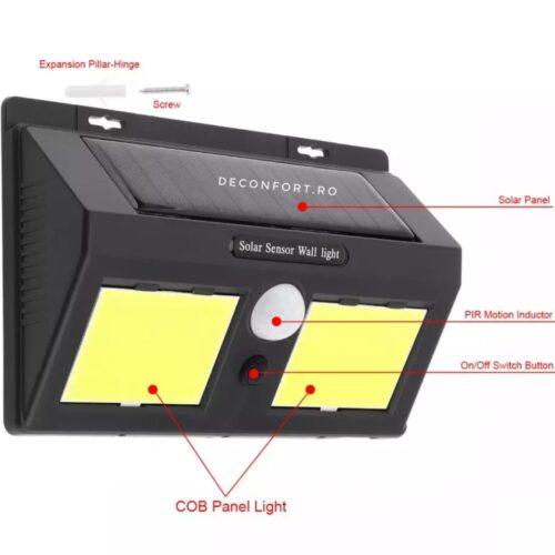 Lampa solara 96LED COB senzor miscare cu posibilitate selectare functii