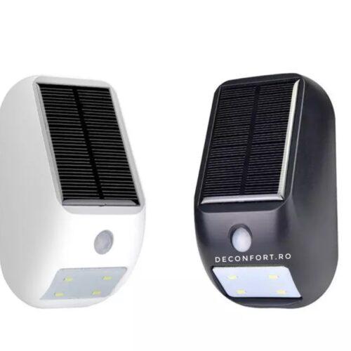 Lampa solara LED senzor miscare montare perete culoare alb-negru
