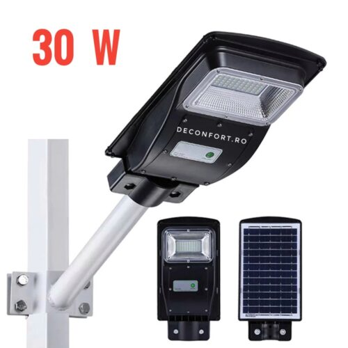 Lampa stradala LED 30w panou solar incarcare cu senzor lumina