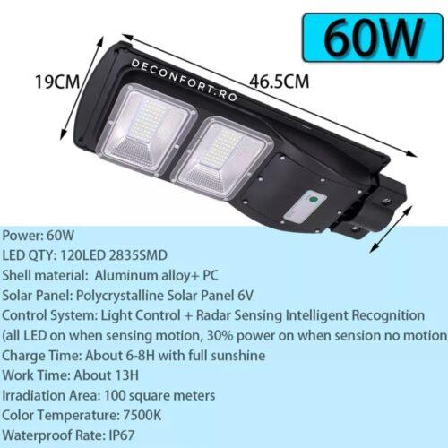 Lampa stradala LED 60w panou solar incarcare cu senzor lumina