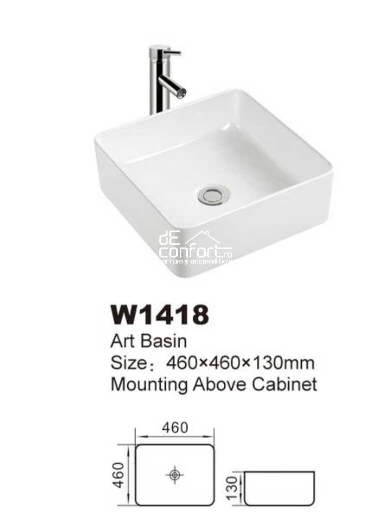 Lavoar baie rectangular ceramica alba montare blat Vektor 36 x 36cm