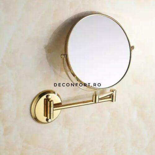 Oglinda cosmetica doua fete GOLD auriu brat extensibil perete baie