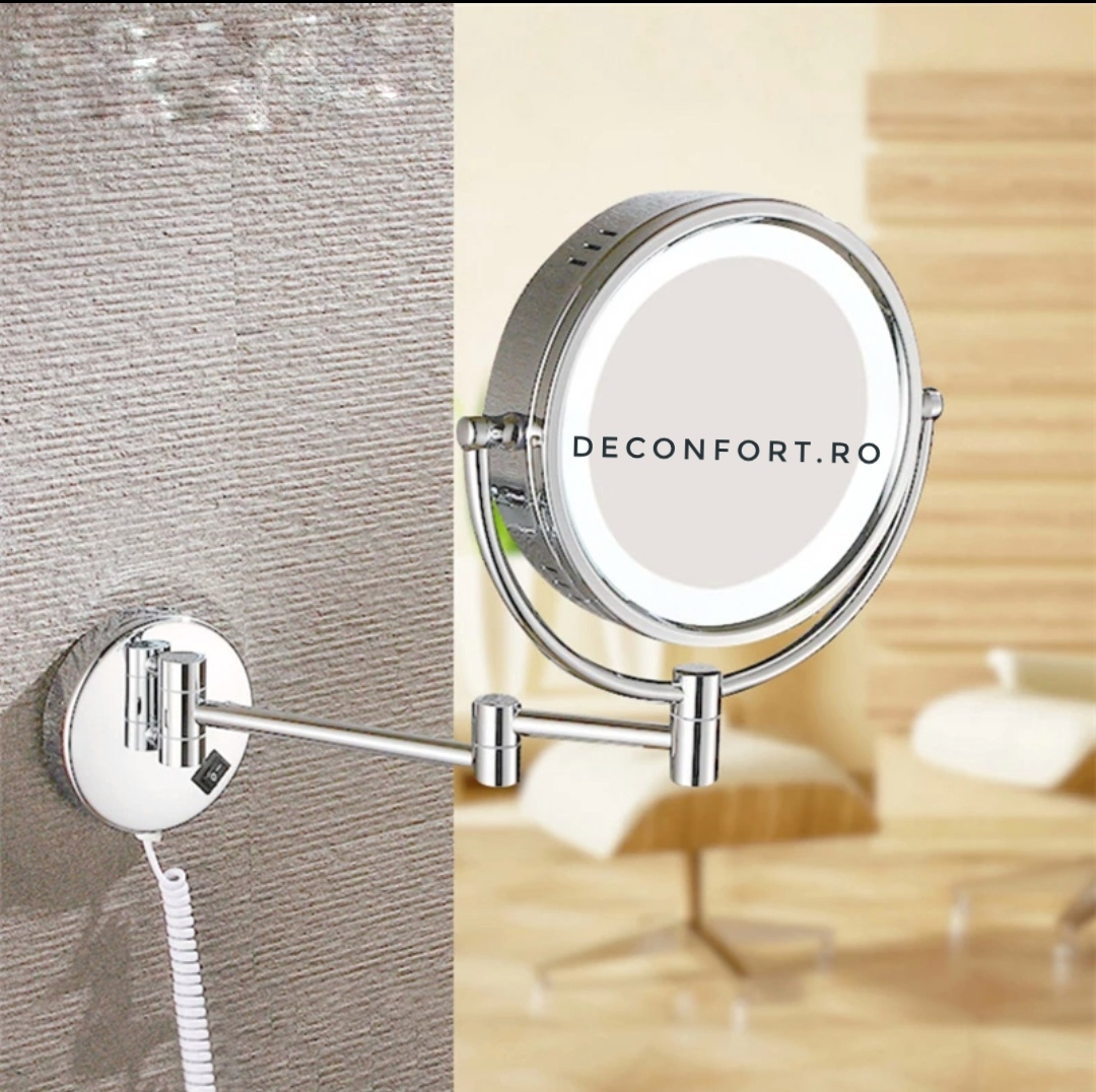 Oglinda cosmetica profesionala cu iluminare LED, cromata doua fete zoom3x brat extensibil prindere baie