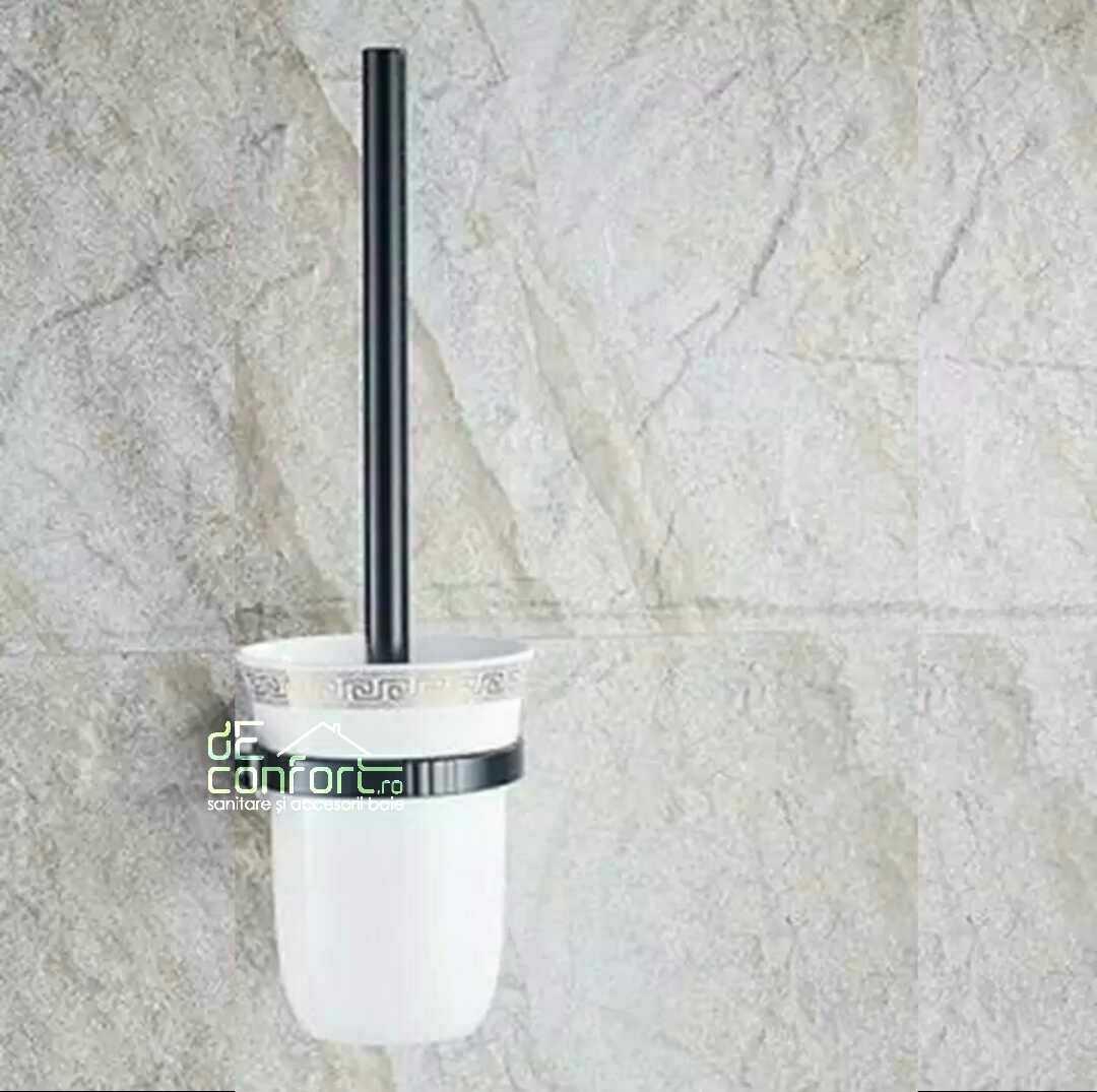 Perie toaleta antichizata culoare neagra pahar sticla mata prindere perete Locika