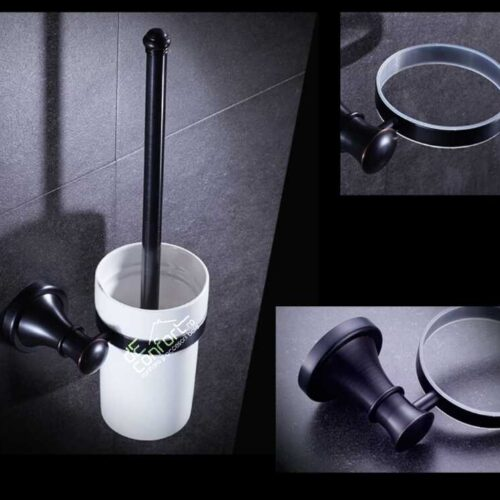 Perie toaleta antichizata perete culoare neagra  pahar ceramica Ermetiq
