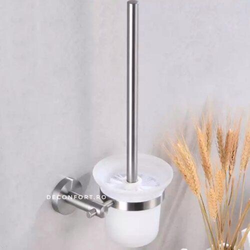 Perie toaleta suport inox satinat STEEL pahar sticla fixare perete baie
