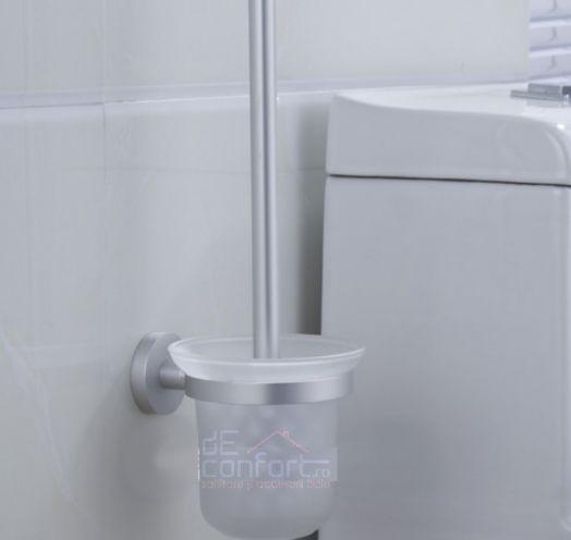 Perie wc aluminiu fixare perete pahar sticla mata