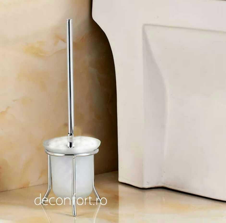 Perie wc pahar sticla mata asezare pardoseala maner cromat suport podea