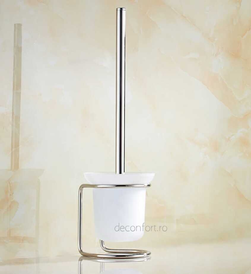 Perie wc pahar sticla mata asezare pardoseala maner cromat supost podea