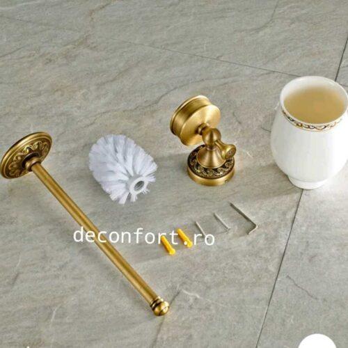 Perie wc retro PRATO pahar ceramica suport perete antichizat