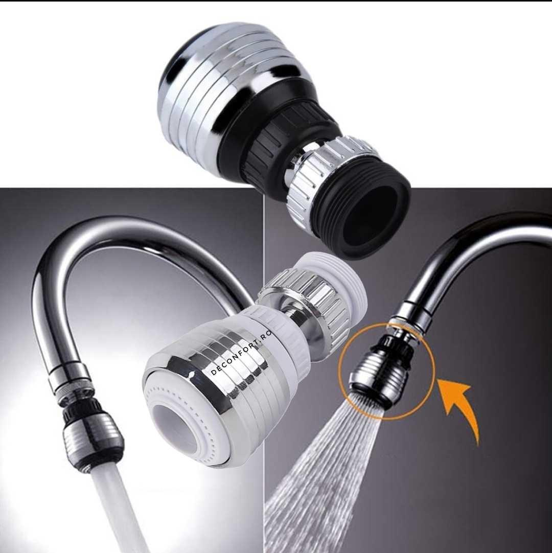 Perlator baterie bucatarie cap rotativ 360 grade cromat doua jeturi apa