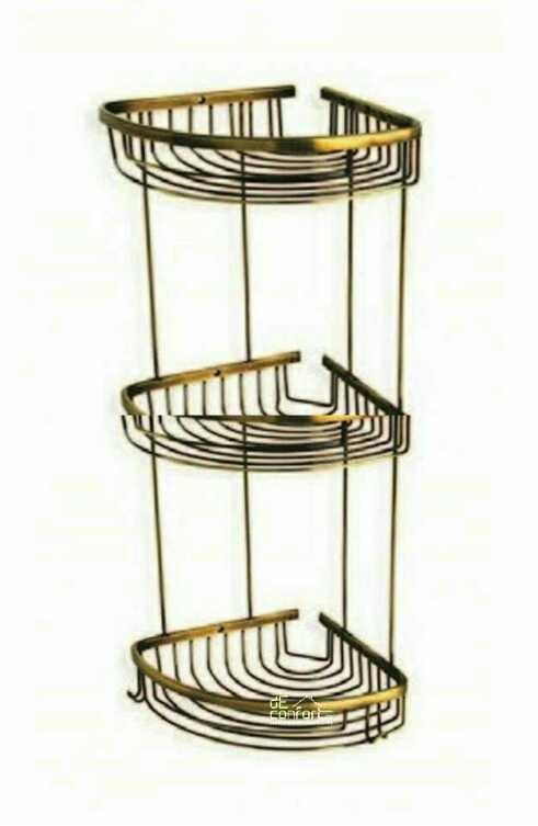 Polita montare colt bronz antichizat cu trei etaje