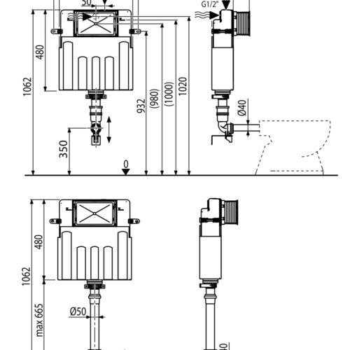 Rezervor toaleta incastrat montare zidarie BASICMODUL pentru wc pardoseala