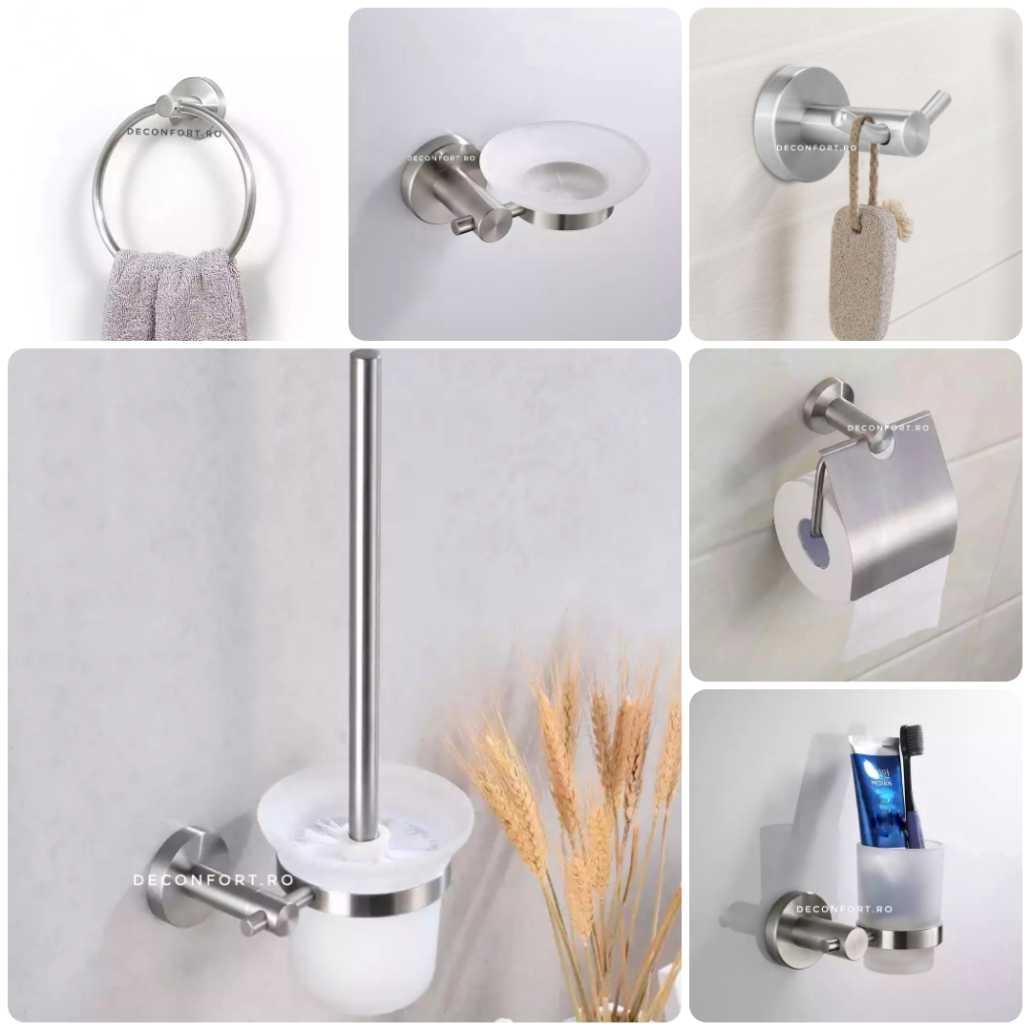 Set accesorii baie inox STEEL 6 piese aspect mat satinat prindere perete