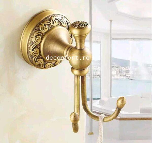 Cuier baie bronz antichizat PRATO cu doua brate prindere perete cu dibluri