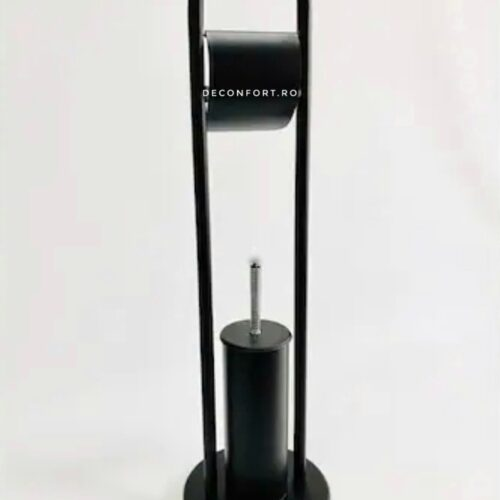 Set perie wc negru antichizat cu suport hartie igienica Defne fixare podea
