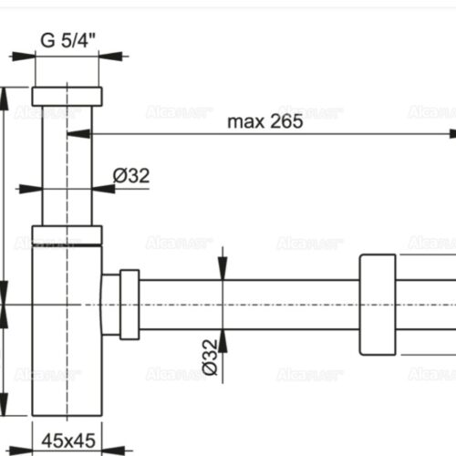 Sifon evacuare lavoar cromat rectangular alama scurgere chiuveta metalic anticoroziv