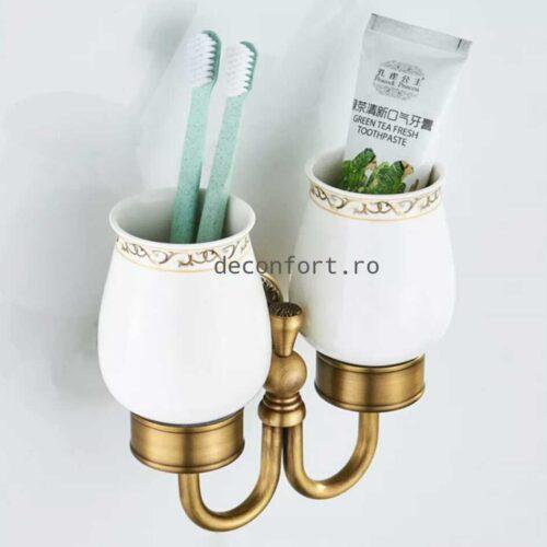 Suport dublu bronz antichizat pahare ceramica PRATO pentru periuta dinti