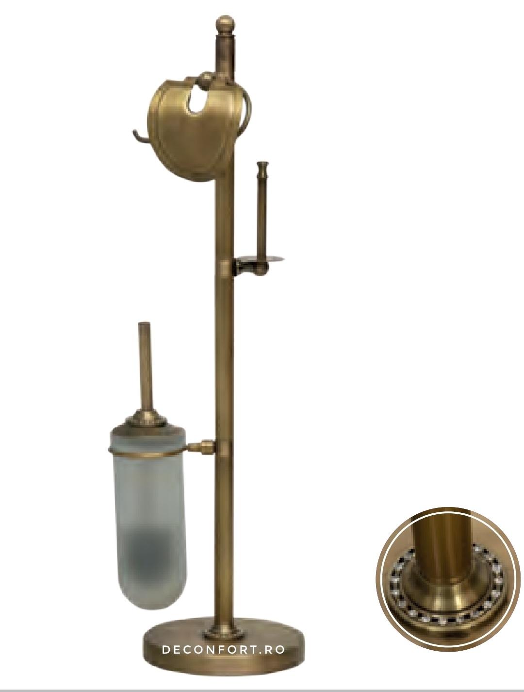 Suport hartie igienica bronz antichizat cu perie wc pahar sticla asezare pardoseala