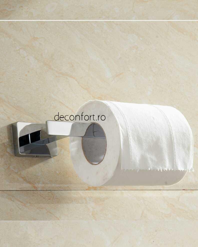 Suport hartie igienica Liner cromat aspect liniar forma rectangulara prindere perete