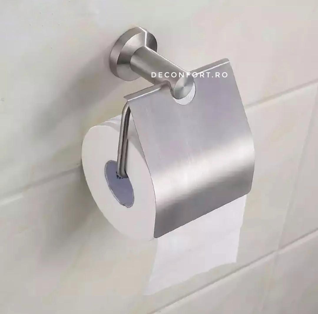 Suport hartie toaleta inox periat STEEL clateta rabatabila mata montare baie