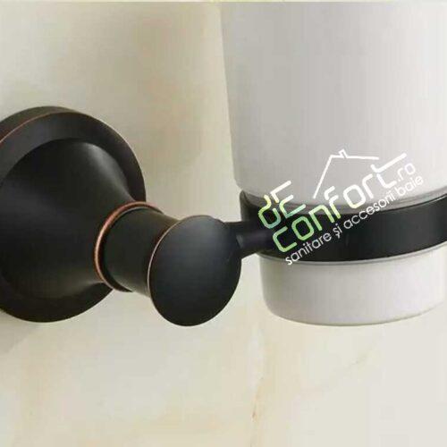 Suport pahar baie culoare negru antichizat Ermetiq prindere perete