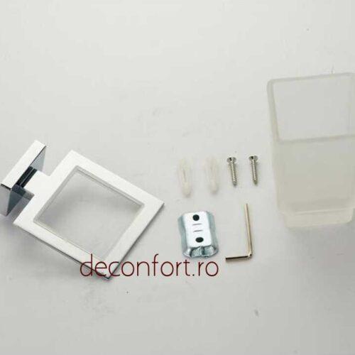 Suport pahar sticla mata rectangular prindere perete LINER pentru periuta dinti