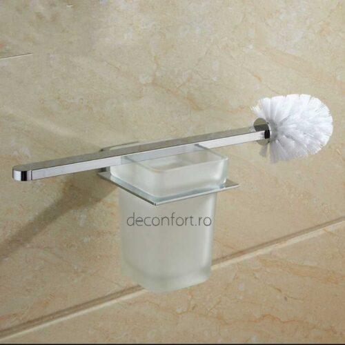 Suport perie wc cromat prindere perete pahar sticla mata rectangular LINER