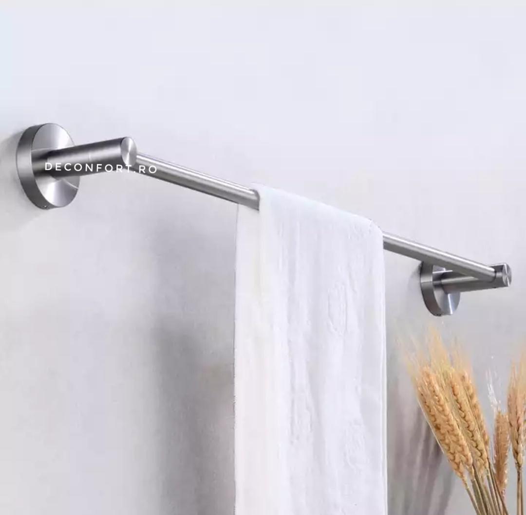 Suport prosop baie inox satinat 60cm bara STEEL prindere stabila perete