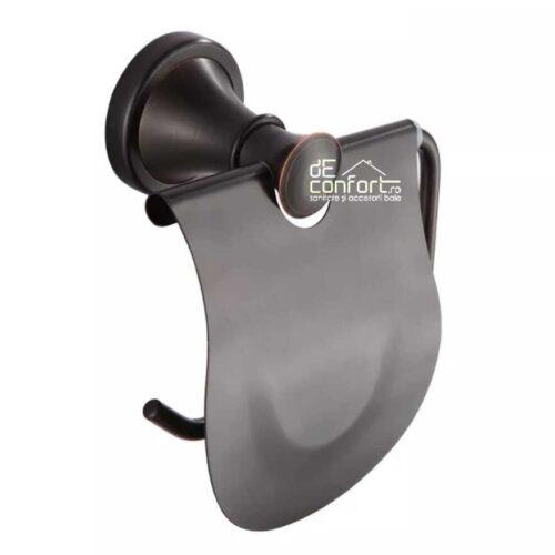 Suport rola hartie igienica antichizat culoare neagra Ermetiq  capac rabatabil