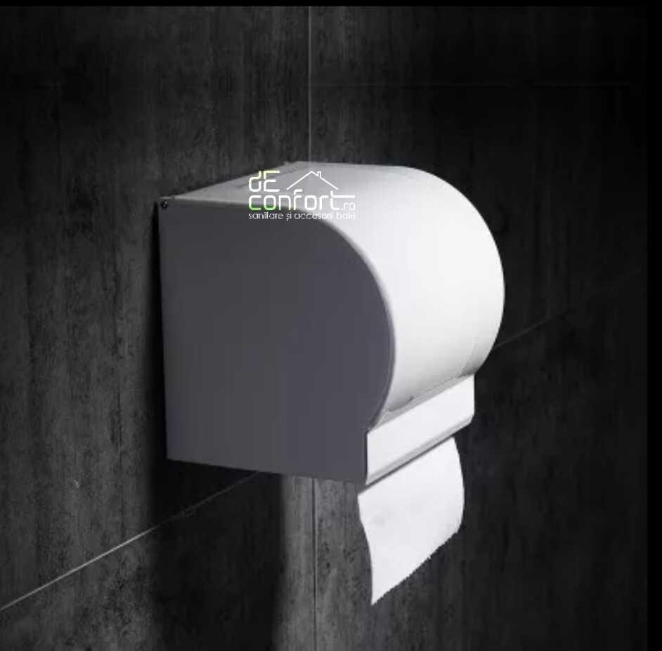 Suport rola hartie igienica culoare alba Locika capac rabatabil