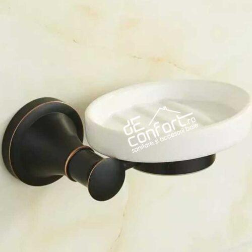 Suport sapun farfuriuta ceramica aspect antichizat negru Ermetiq
