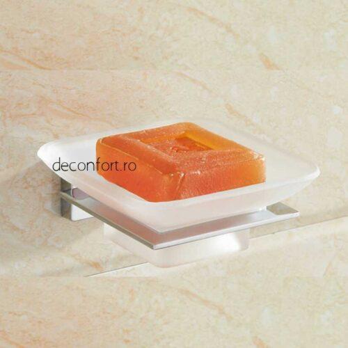 Suport sapun farfuriuta sticla mata rectangular prindere perete LINER