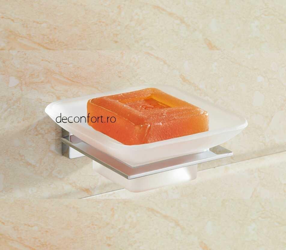 Suport sapun farfurie sticla mata rectangular prindere perete LINER